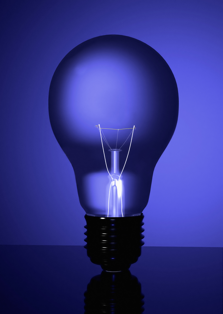 blue lightbulb in blue colours made in 3d